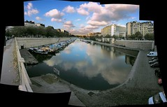 Port de Plaisance de Paris-Arsenal (O Caritas) Tags: 2005 november autostitch panorama paris france reflection water composite clouds photoshop europe ledefrance nikoncoolpix8800 portdeplaisancedeparisarsenal ocaritasutatafeature nikonstunninggallery