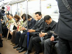 Tokyo, Japan Subway - Metro Commuters (garyhymes) Tags: morning sleeping topv111 japan umbrella subway tokyo ginza topv333 suits sitting metro sleep interestingness1 tired commute snooze sleepyhead miserable exhausted businessmen hibya travellingfool companymen i500