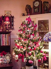 The Pink Tree (flaurella) Tags: christmas tree christmastree red pink snowflakes berries apples holiday decor decoration