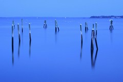 still (Farl) Tags: ocean blue winter sea usa cold night port marina reflections pier us bravo sundown maine mooring poles tranquil subzero rockland pkchallenge
