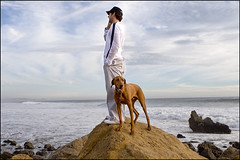jp and buddy in malibu (noahstone) Tags: ocean sea dog man beach vizsla buddy malibu ridgeback rhodesian jamesperse canon2470f28l