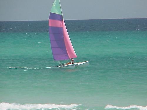 emerald coast destin florida sailboat purple green pink sunny catamaran freeassociation