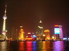Shanghai Skyline (Andrew Goodrich) Tags: china urban panorama reflection skyline night buildings wow river lights interestingness asia neon shanghai bund