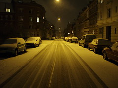 snowy streets (Sprake) Tags: street city winter light shadow sky snow streets cars silhouette night dark streetlight view empty topc50 tracks roadtrip mostfavorited oneway depth aarhus rhus arhus onewaystreet olympusmju 222v2f mireasrealm scoreme31 thebiggestgroup sprake ktornbjerg
