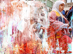 Palestine (-Antoine-) Tags: 2002 canada texture primavera film topf25 painting support paint acrylic 500v20f montral quebec montreal palestine muslim protest hijab scratches peinture qubec muslims papier stcatherine stecatherine manifestation saintecatherine palestinians acrylique acetate palestinian paintover palestininan tirage actate palestinien palestiniens antoinerouleau