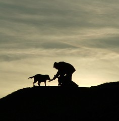 man's best friends. (vvt) Tags: dog man silhouette 1025fav norfolk vvt clifftop cy2 challengeyouwinner