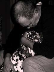 A man and his dog (jenlyn) Tags: dad dog chip black white