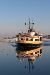 Ferry from Suomenlinna (Petri Tuohimaa) Tags: helsinki sea ocean harbor winter ice ferry boat finland reflaction