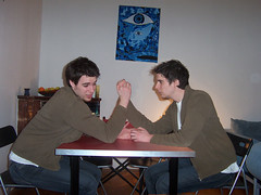 I bet, I win (CoolMcFlash) Tags: boy two men photoshop wow fun photography twins funny fotografie arm kodak manipulation multiplicity clone effect armwrestling mnner effekt drcken top20clonepics ls633