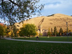 UM's Main Hall and Mount Sentinel in autumn (patia) Tags: fall places historic national register mainhall oval universityofmontana mountsentinel glaciallakemissoula iceagefloods