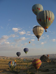 Balloons Over Cappadoccia (becklectic) Tags: 2005 blue turkey balloons colorful depthoffield continuity 100 dazedandconfused hotairballoons cappadoccia dc1 ooc 230countries explored 230countriesturkey