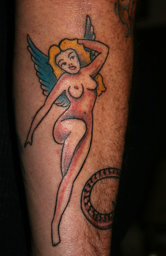 angel tattoo art on the foot and sexy girl back body