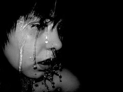 overwhelmed (madamepsychosis) Tags: portrait blackandwhite selfportrait black topf25 water blackbackground blackground freeze 50100fav overwhelmed