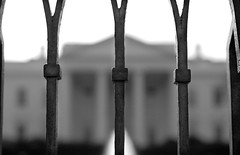 Protection or Isolation? (Hoffmann) Tags: blackandwhite bw white house fence washingtondc dc washington unitedstates d70 nikond70 president whitehouse 2006 pennsylvaniaavenue dcist isolation mansion protection nikondigital ironfence presidentspark northportico 123bw nikonstunninggallery ngtdc