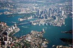 Outbound from Sydney (Sydney Harbour) (Bill in DC) Tags: 2002 film flight sydney bridges australia flights eos3 sydneyoperahouse sydneyharbourbridge