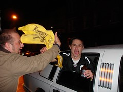 everyone came together to say GO STEELERS! (sharwest) Tags: pittsburgh limo fans steelers gosteelers terribletowel patrick58 gimmiefive