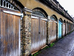 shaved (ManyFacedTBone) Tags: uk england london wall thames river doors garage bricks arches richmond surrey cobblestones interestingness455 i500