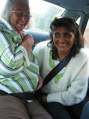 Two old birds who still can't do up their seatbelts (Helen Morgan) Tags: car laughing limegreen monica lime anita seatbelt onthewaytotheairport laughingtoomuch