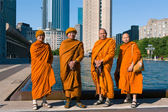 Thai Monks by the pool, Boston (shunliangphotography) Tags: street city light summer portrait people orange sun color men art pool beautiful beauty fashion boston composition thailand photography spring peace group streetphotography monk buddhism zen portraiture thai editorial groupshot thaimonk