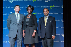 (From left) Dan Piepszowski, senior director of community leadership development for the Chamber, poses for a photo with Leadership Detroit Class XXXVI alumna Jo Obasuyi, senior vice president for PNC Bank, and Chamber President Sandy Baruah.