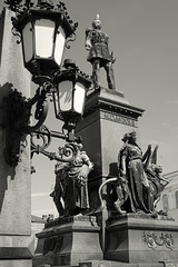 Helsinki (Finland), May 2015. Monument in front of the cathedral (wwwuppertal) Tags: blackandwhite bw sculpture monument monochrome bronze suomi finland square helsinki finnland cathedral platz may kathedrale skulptur mai sw lantern monochrom toned laterne nordeuropa toning northerneurope standbild klassizismus schwarzweis getont tonung sigmaaf30mmf28exdn sonyalpha5000 sonyilce5000 clacissism