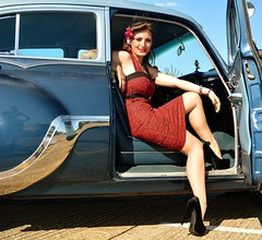 Holly in heels (Fast an' Bulbous) Tags: girls summer england woman hot sexy classic girl beauty car pose high women automobile shoes dress northamptonshire longhair july sunny babe chick heels rockabilly vehicle oldtimer stilettos wellingborough longhairedwoman ajsdiner