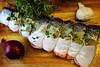 dinner... (ggcphoto) Tags: dinnertime dinner fish salmon freshness red onion garlic thyme wooden board chopping bay leaves stuffing christmasdinner