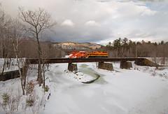 SLR 513 at Gilead (jc_canon) Tags: saintlawrenceatlanticrailroad slr sla plowtrain plow train gileadmaine wildriver androscogginriver bridge railroadriverwintericesnowmountainsemd gp40x emd