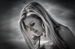 the shy profile (sonofphotography) Tags: sonofphotography tsphotoart blackandwhite bw beauty portrait street fashion lifestyle photo art shade wonderful view hair face eyes beautiful clouds sky heaven blond availablelight