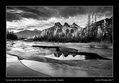 Sunrise with Mt. Lougheed and The Three Sisters, Canmore, Alberta (kgogrady) Tags: infrared landscape mtlougheed thethreesisters winter canmore alberta canada canadianlandscapes canadianmountains cans2s bw albertalandscapes blackwhite canadianrockieslanscape canadianrockies 2017 ab blackandwhite snow trees rockymountains westerncanada sunrise rocky xpro1 fujinon frozen rockies fujifilmxpro1 xf14mmf28r fujifilm ice mountains morning bigsister littlesister middlesister