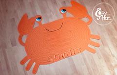 Orange Crab Rug Handmade by Cozy Hat #crab #cozyhat (Anastasia wiley) Tags: crab rug orange mat decor kids room cozyhat cozy hat handmade knit crochet craft creative