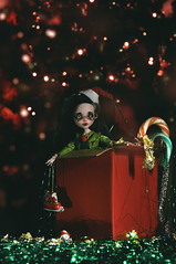 time to open the gifts (tehhishek) Tags: box gift copyright ordering mattel model red holiday happy new year christmas tree pine monster high mx elf dwarf santa