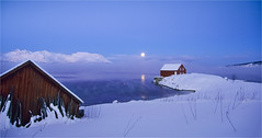 Moonrise at Berg (Explored) (Frank S. Andreassen) Tags: winter norway nordnorge moon mountains snow coast cold blue water sky frost frank andreassen nettfoto wow