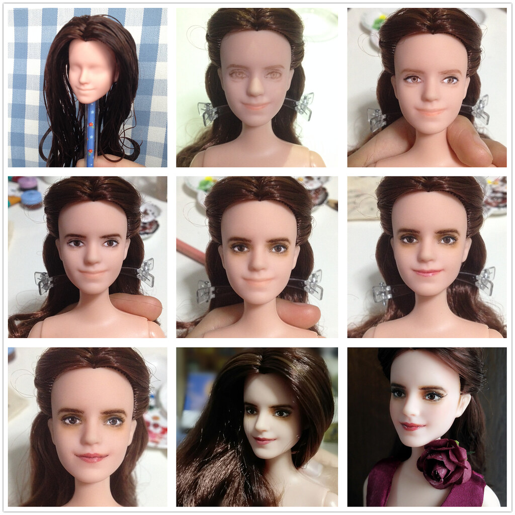before after doll repaint emma watson belle