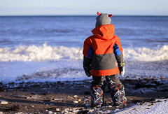 Wanna go swimming (Danny VB) Tags: ocean waves winter boy kid child snow hiver capdespoir gaspesie quebec canada canon eos 6d dannyboy ef70200mmf28lisiiusm swimming wannagoswimming december