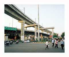 (iconicturn) Tags: india rajastan jaipur urban bridge metro concrete concretejungle sunset analog analogue film mediumformat 120 6x7 kodak portra mamiya7 mamiya traffic transportation