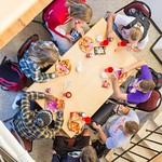 College of Natural Resources students grab lunch together between classes.