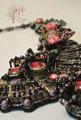 3_The Prophecy_FoggyForest (~Gilven~) Tags: bead beads beading beadembroidery foggyforest black gold gothic scifi alien space dune swarovski swarovskicrystals swarovskipearl naturalleather necklace red japanesebeads jewelry jewelryfindingsbyannachernykh metal czechbeads handmade embroidery