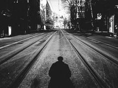 the earth stood still (matthias hämmerly) Tags: zürich zuerich switzerland swiss bahnhofstrasse empty shadow street streetphotography grain contrast black white bw ricoh grd 2 lines tram