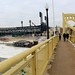 On Roberto Clemente Bridge and view of cold PNC Park