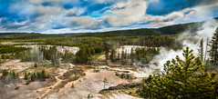 Norris Geyser Basin (http://fineartamerica.com/profiles/robert-bales.ht) Tags: park blue trees vacation orange usa mountain lake hot nature water walking landscape spring pond montana rocks colorful stream unitedstates path turquoise smoke basin steam walkway caldera springs heat yellowstonenationalpark boardwalk destination yellowstone projects wyoming geology geyser sulfur hotspring volcanic bacteria geothermal cauldron geysir thermal norris eruption bubbling vents geysers geothermic norrisgeyserbasin robertbales nbbeauty