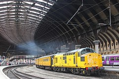 Yellow Tractor (96tommy) Tags: york uk roof 2 england test tractor station yellow train photography photo diesel britain mark smoke united great transport traction engine rail railway kingdom class transportation gb depot mk2 locomotive network 37 thrash rare soe derby 97 growler heaton rtc livery clag mk3 tmd 97301 3z04
