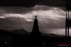 Spire and Lightning Bowl Brisbane City Hall. (Kent Johnson) Tags: sunset blackandwhite silhouette twilight bowl brisbane clocktower spire lightning godlight brisbanecityhall xf55200mmf3548rlmois 1600adjsef0969