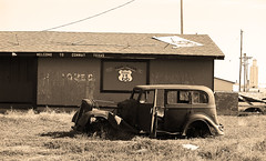 Route 66 Vintage Auto (Frank Footer Fotos) Tags: auto road trip travel sky brown white signs black west green art classic colors station shop wall sepia rural america truck vintage photography freedom town store highway midwest texas desert general conway framed tx garage small country rustic fine mother machine rusty murals pickup mobil roadtrip 66 historic retro gas adventure business route nostalgia lorry repair era posters depression buy prints americana service kicks motor firestone roadside tones rt relics artifacts filling panhandle attractions
