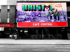 Cafe Central (Viv Lynch) Tags: city uk england food streetart southwest art festival bristol graffiti restaurant cafe europe paint downtown unitedkingdom seenoevil bio british oldcity castlepark nicer nelsonstreet tatscru 2011 bg183