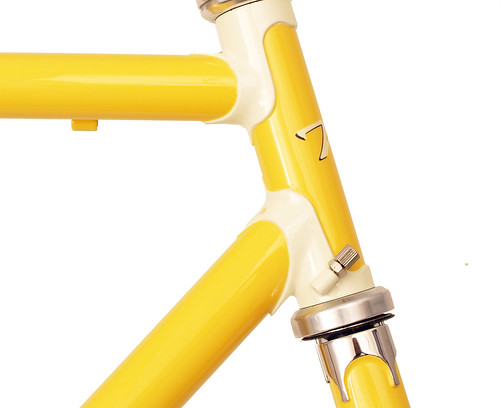 <p>Head tube detail on Waterford 22-Series Road Sport featuring Sachs' Richissimo Lugs in Canary with painted lugs.  These lugs included built-in cable guides.</p>