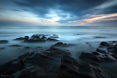 Land of Rocks I (Tony N.) Tags: longexposure sunset sea sky bw mer france beach clouds evening rocks europe atlantic ciel nuages soir plage rochers vende atlantique paysdeloire loireatlantique poselongue nd64 d810 bretignollessurmer tonyn pare nikkor1635f4 tonynunkovics