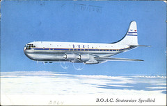 postcard - BOAC Stratocruiser (Jassy-50) Tags: plane vintage airplane postcard airline boeing 377 boac stratocruiser boeingstratocruiser boeing377