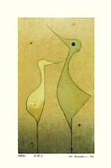 Unknown bird (Japanese Flower and Bird Art) Tags: bird hiroshi kabe modern screenprint japan japanese art readercollection