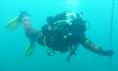 Viking drysuit and EXO - underwater (Luca D) Tags: drysuit rubber full face mask scuba diver diving underwater fins